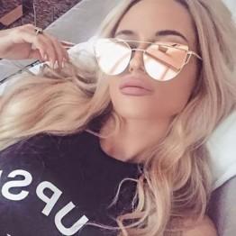 2018 Cat eye, rose gold metal, mirror Sunglasses