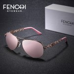 FENCHI Sunglasses Women Driving Pilot Classic Vintage Eyewear Sunglasses High Quality Metal Brand Designer Glasses Oculos De Sol