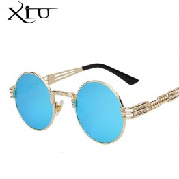 Gothic Steampunk Sunglasses Men Women Metal WrapEyeglasses Round Shades Brand Designer Sun glasses Mirror  High Quality UV400
