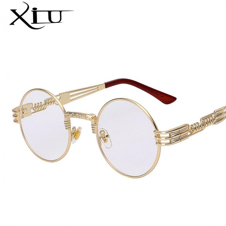 b1fee227879 Gothic Steampunk Sunglasses Men Women Metal WrapEyeglasses Round Shades Brand  Designer Sun glasses Mirror High Quality UV400Women s Sunglasses