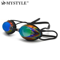 HOT MYSTYLE Men Women Swimming Goggles Plating Waterproof Anti-fog UV Adjustable Professional Competition Glasses with Box