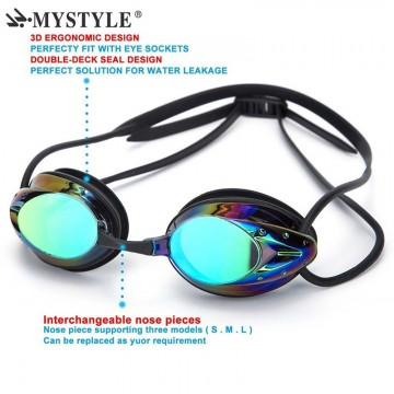HOT MYSTYLE Men Women Swimming Goggles Plating Waterproof Anti-fog UV Adjustable Professional Competition Glasses with Box32802924907