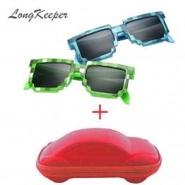 LongKeeper Fashion Kids Sunglasses Smaller Size Minecraft Sunglasses Mosaic Boys Girls Pixel Eyewares With Case Children Gift